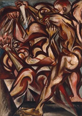 Jackson-Pollock kimdir-Man-With-Knife-1938-40